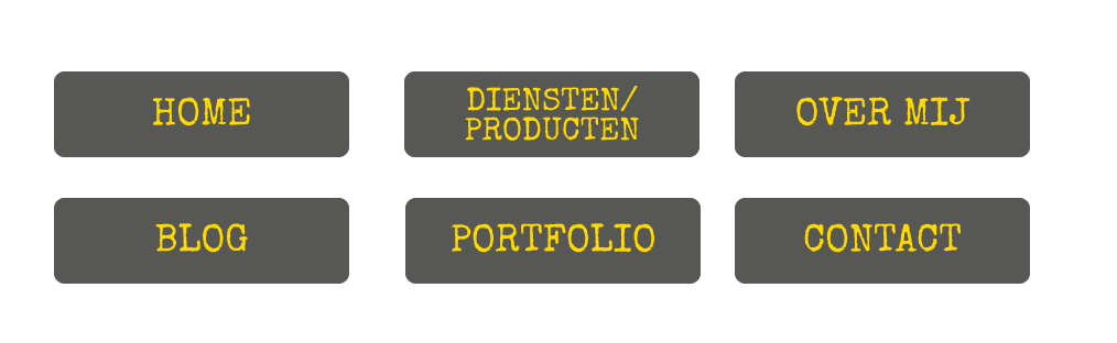 Basis pagina's website menu